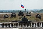 Танки Т-90 и Т-80 и самоходная гаубица Мста-С