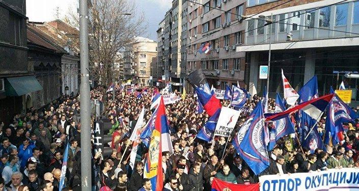Протест против НАТО в Белграде. 27 марта 2016