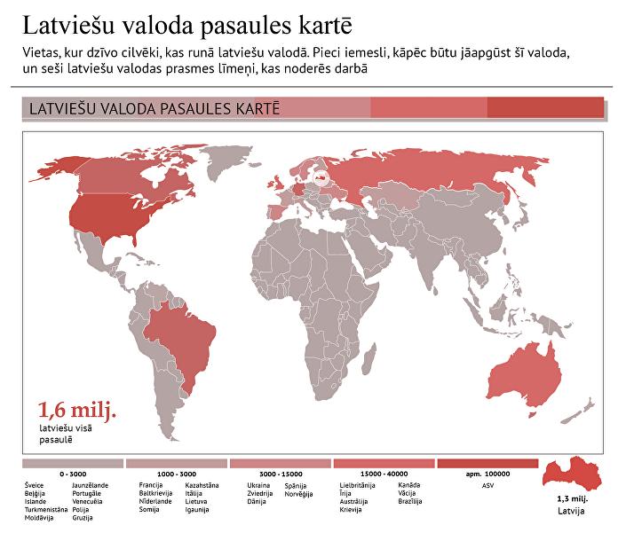 Latviešu valoda pasaules kartē