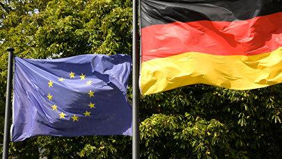 Eiropas Savienības un Vācijas karogi. Foto no arhīva