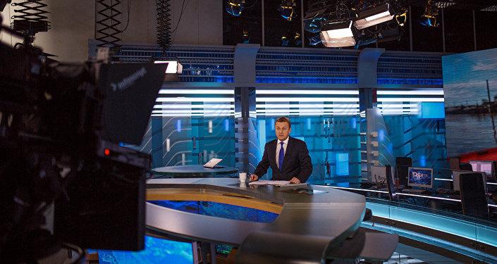 Tiešais ēters telekanālā Rossija. Foto no arhīva