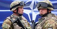 Военнослужащие на фоне эмблемы NATO