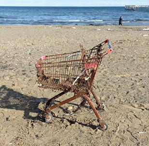 Sarūsējuši pirkumu ratiņi pludmalē