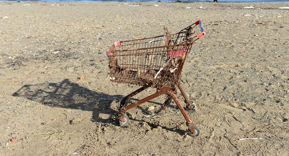Ржавая тележка для покупок на пляже