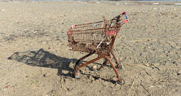Iepirkumu ratiņi pludmalē
