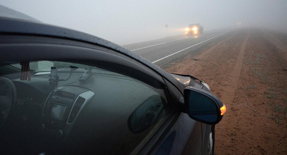 Утренний туман по дороге