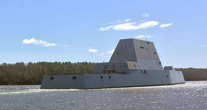 Raķešu eskadras kuģis USS Zumwalt. Foto no arhīva