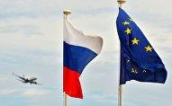 Флаги России ЕС на набережной Ниццы, архивное фото