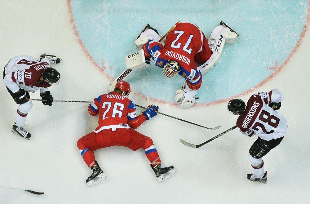 Хоккей между сборными командами Латвии и России