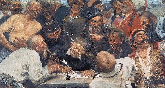 I.Repina gleznas Zaporožjes kazaki raksta vēstuli turku sultānam reprodukcija