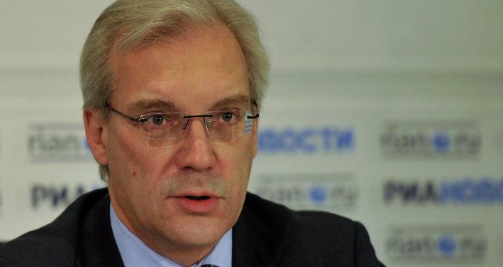 Постоянный представитель РФ при НАТО Александр Грушко на пресс-конференции в РИА Новости