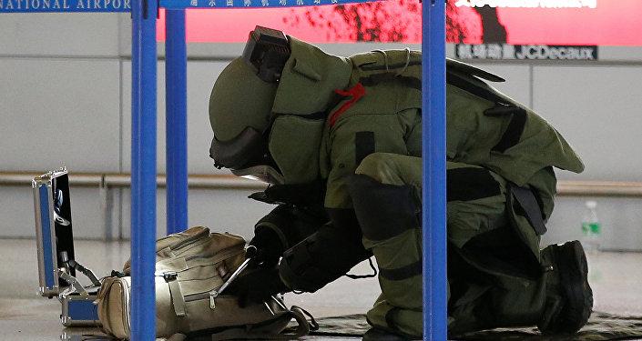На месте взрыва в аэропорту Шанхая, Китай. Архивное фото