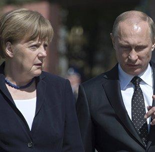 Krievijas prezidents Vladimirs Putins un Vācijas kanclere Angela Merkele.