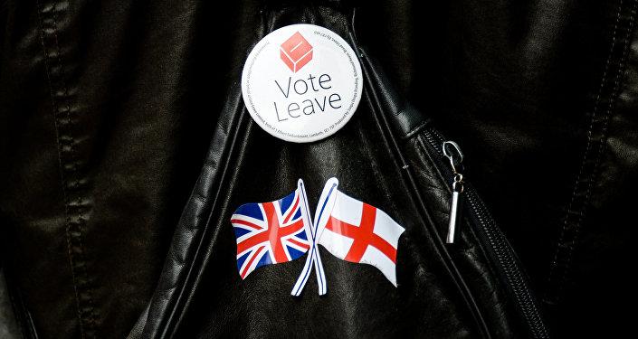 Nozīmīte ar Brexit simboliku. Foto no arhīva