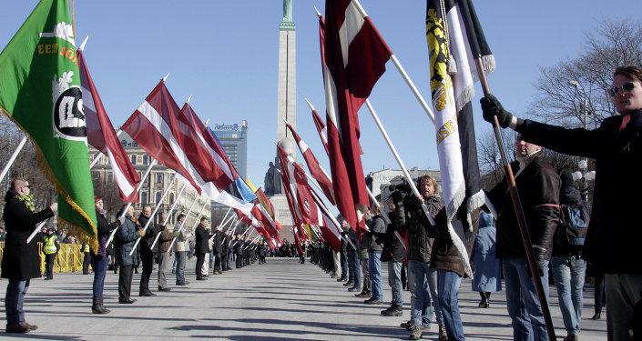Марш ветеранов латышского легиона СС в Риге. Архивное фото