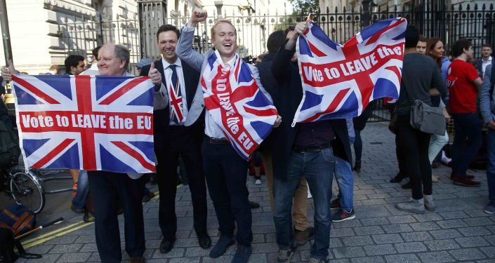 Сторонники выхода Великобритании из Евросоюза на улице Лондона