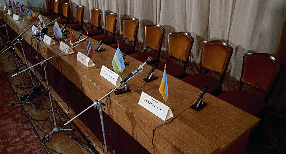 Зал, где проходила итоговая пресс-конференция глав государств - членов СНГ. Архивное фото