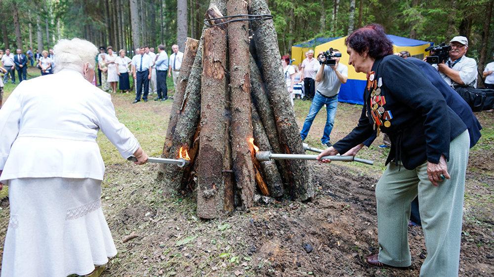 Ветераны войны России, Латвии и Белоруссии зажгли партизанский костёр