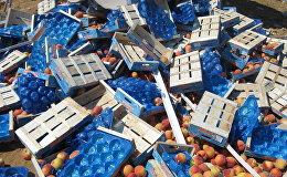 Sankcijām pakļautās produkcijas iznīcināšana. Foto no arhīva