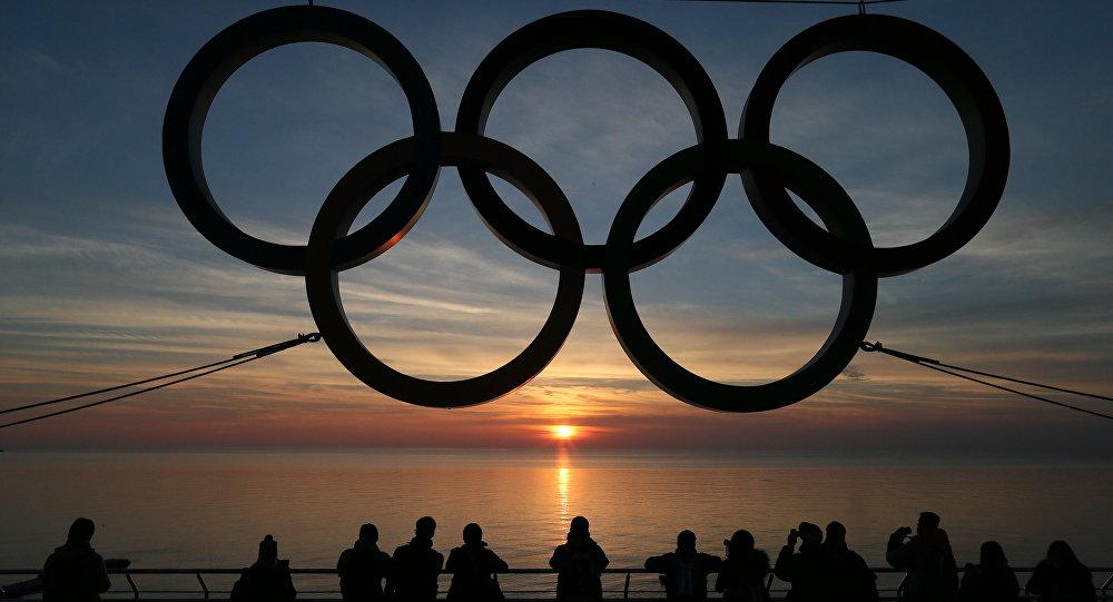 Олимпийские кольца на набережной Адлеровского района Сочи.