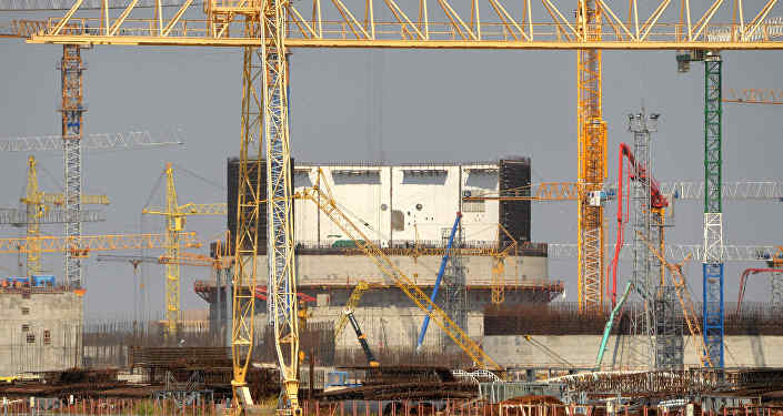 Baltkrievijas AES celtniecība Astravjecā. Foto no arhīva