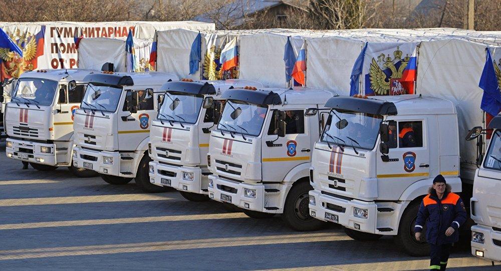 Гуманитарный конвой МЧС России с новогодними подарками в Донбассе