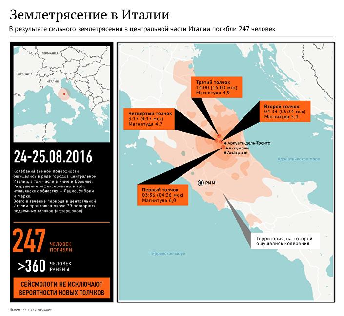 Землетрясение в Италии: зона подземных толчков на карте страны