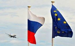 ES un Krievijas karogi. Foto no arhīva