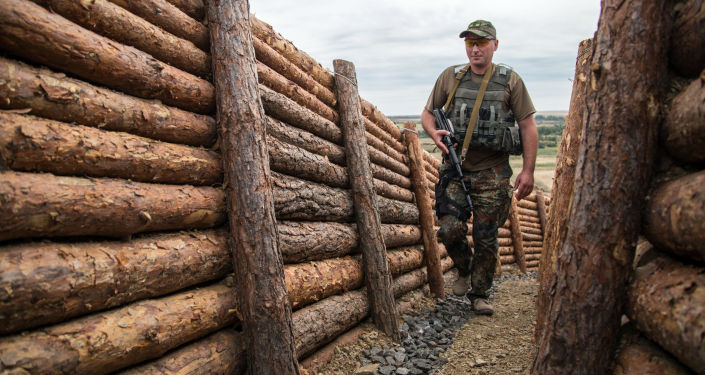 Ukrainas karavīrs Doņeckas apgabalā. Foto no arhīva