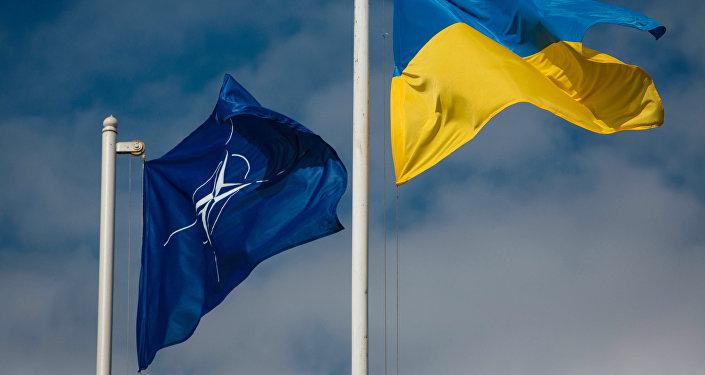 Ukrainas un NATO karogi. Foto no arhīva