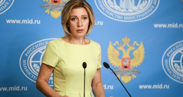 Официальный представитель Министерства иностранных дел РФ Мария Захарова во время брифинга по текущим вопросам внешней политики