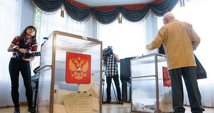 На избирательном участке в Посольстве России
