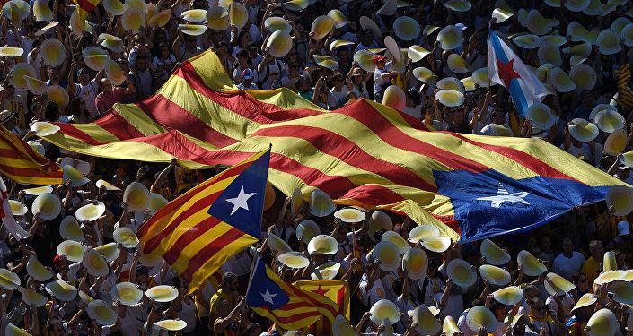 Katalonijas neatkarības piekritēji.Foto no arhīva.