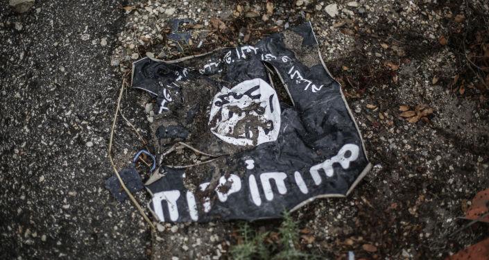 Radikālās islāmiskās organizācijas Irākas un Levantas islāma valsts karogs. Foto no arhīva