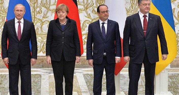Krievijas, Vācijas, Francijas un Ukrainas valstu vadītāju pārrunas. Foto no arhīva