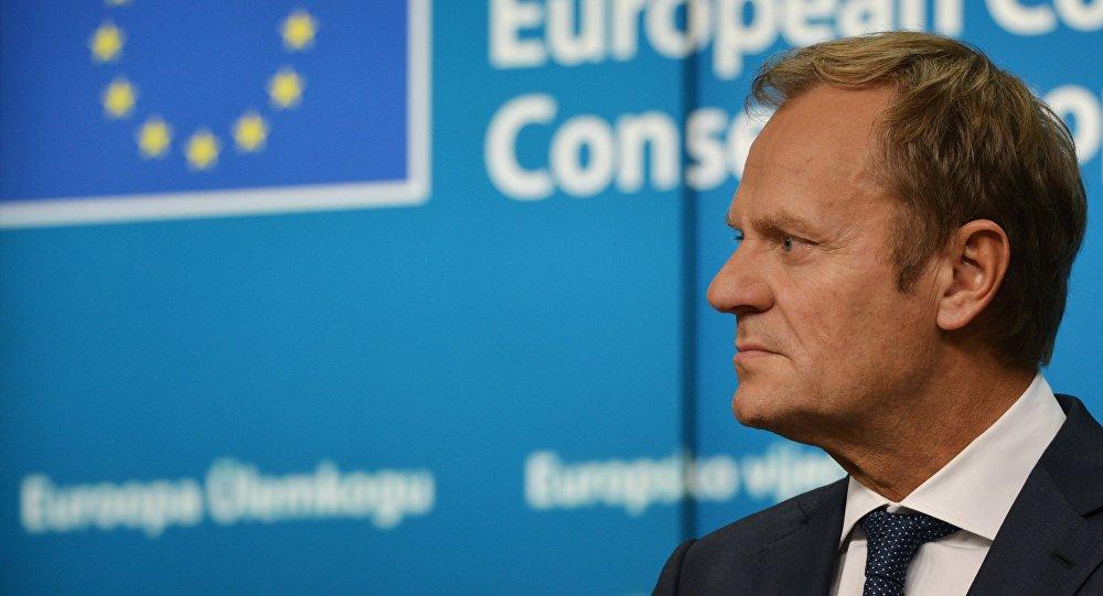 Председатель Европейского совета Дональд Туск на саммите Европейского Союза в Брюсселе