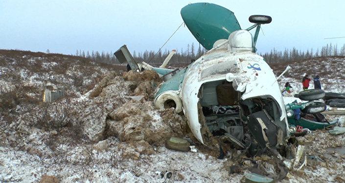 Первые кадры с места крушения Ми-8 на Ямале