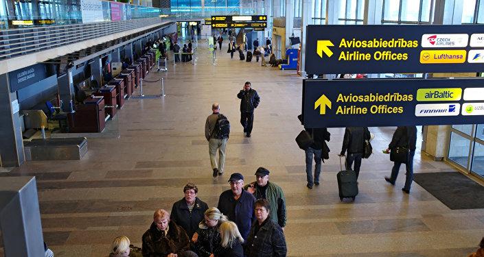 Работа международного аэропорта Рига