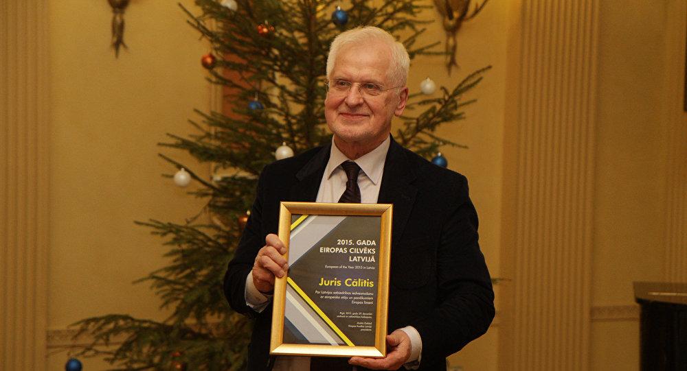 Юрис Цалитис на церемонии вручения титула Человек Европы 2015
