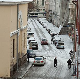 Заснеженные улицы Риги, архивное фото