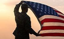 ASV karavīrs ar karogu