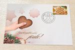 Марка с запахом печенья на рождественской открытке