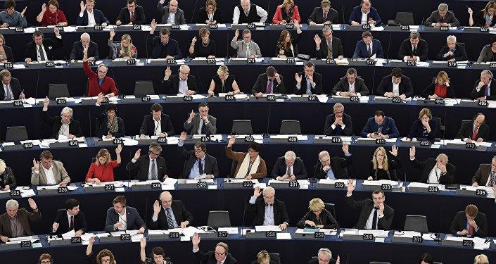 EP locekļi sēdes laikā Strasbūrā. Foto no arhīva