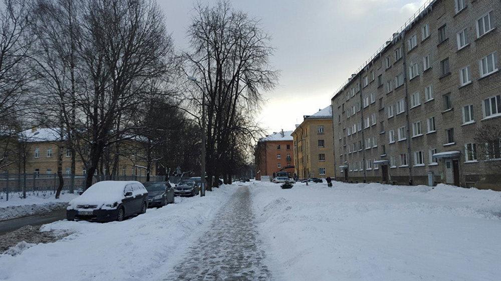 Снег на улице Риги