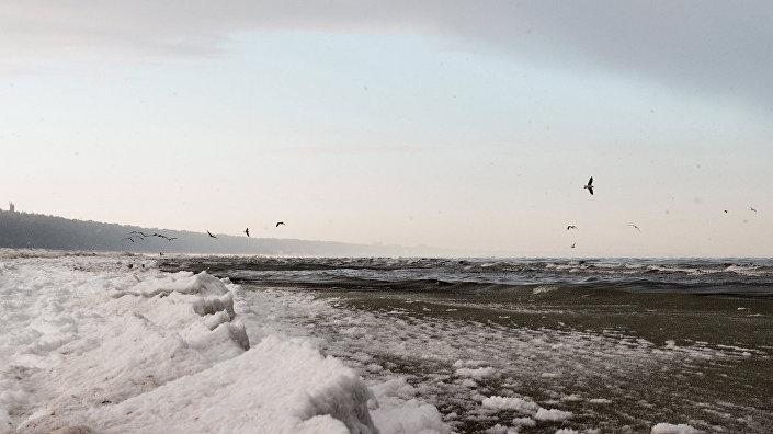 Зимний пляж в Юрмале