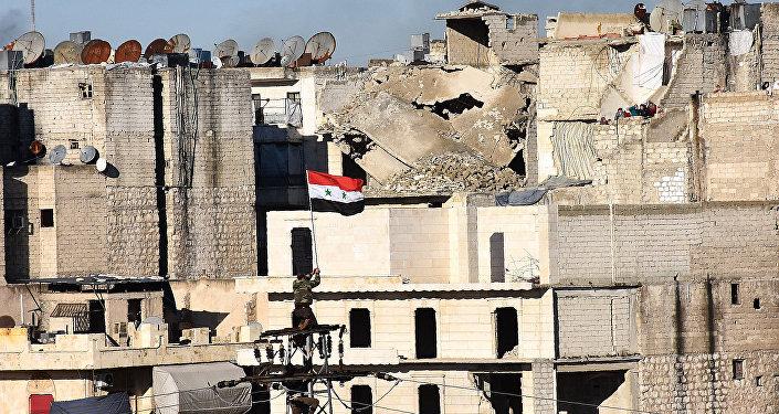 Sīrijas karogs Alepo pilsētā