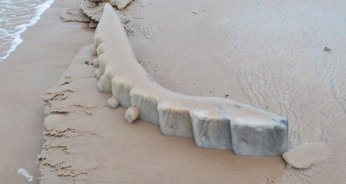Части корпуса затонувшего деревянного парусника у мыса Колка