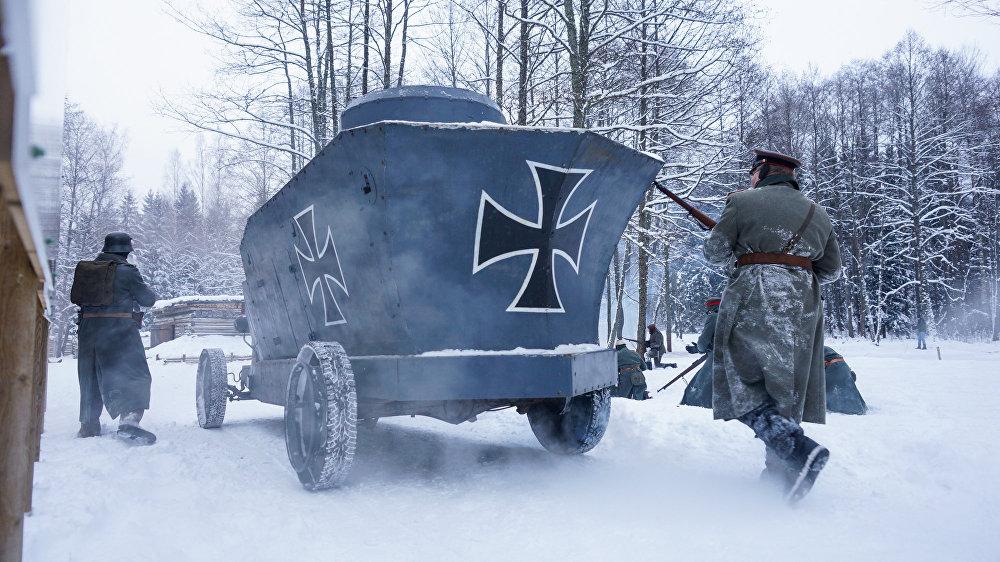 Vācu karaspēka pretuzbrukums ar bruņumobīļa atbalstu