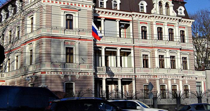 Krievijas Federācijas vēstniecības ēka Rīgā. Foto no arhīva