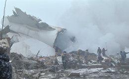 Pirmie kadri no kravas lidmašīnas avārijas vietas pie Biškekas